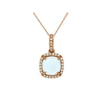 Aquamarine Diamond Halo Pendant Necklace.
