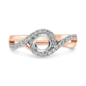 Twist Pavé Shank Engagement Ring