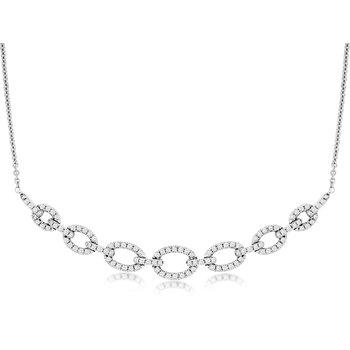 Diamond 1/4 Carats Open Link Bar Necklace