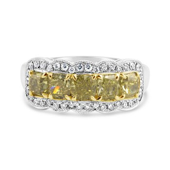Yellow & White Diamond Anniversary Band