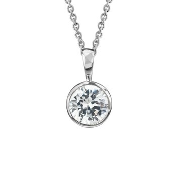 Sterling Silver Sparkling Bezel-set Necklace