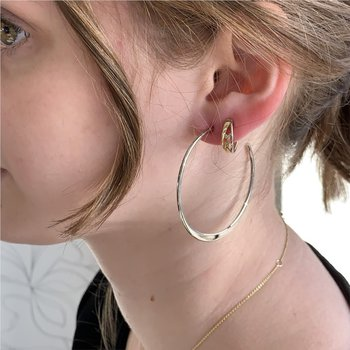 Sterling Silver Flat Tapered Hoops