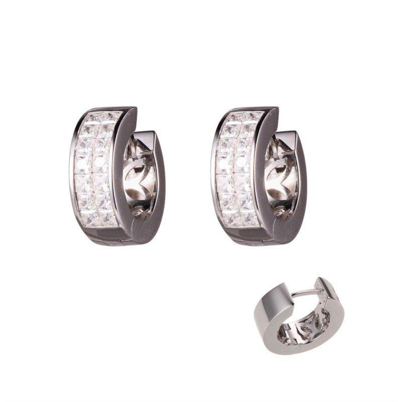 Charles Garnier Paris Sterling Silver Sparkling Huggie Earrings