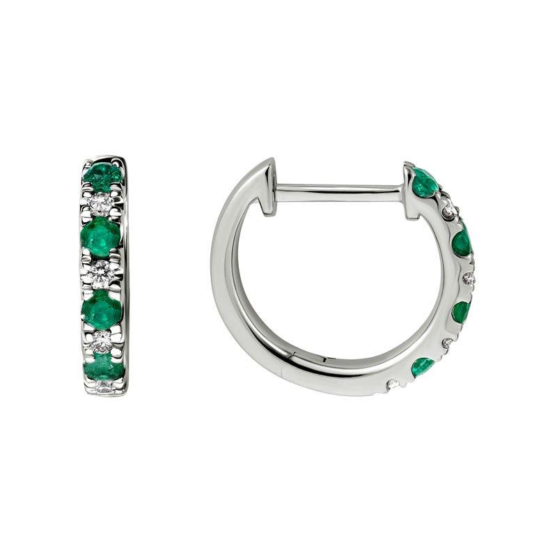 Wear-EVERY-Where Emerald & Diamond Hoops