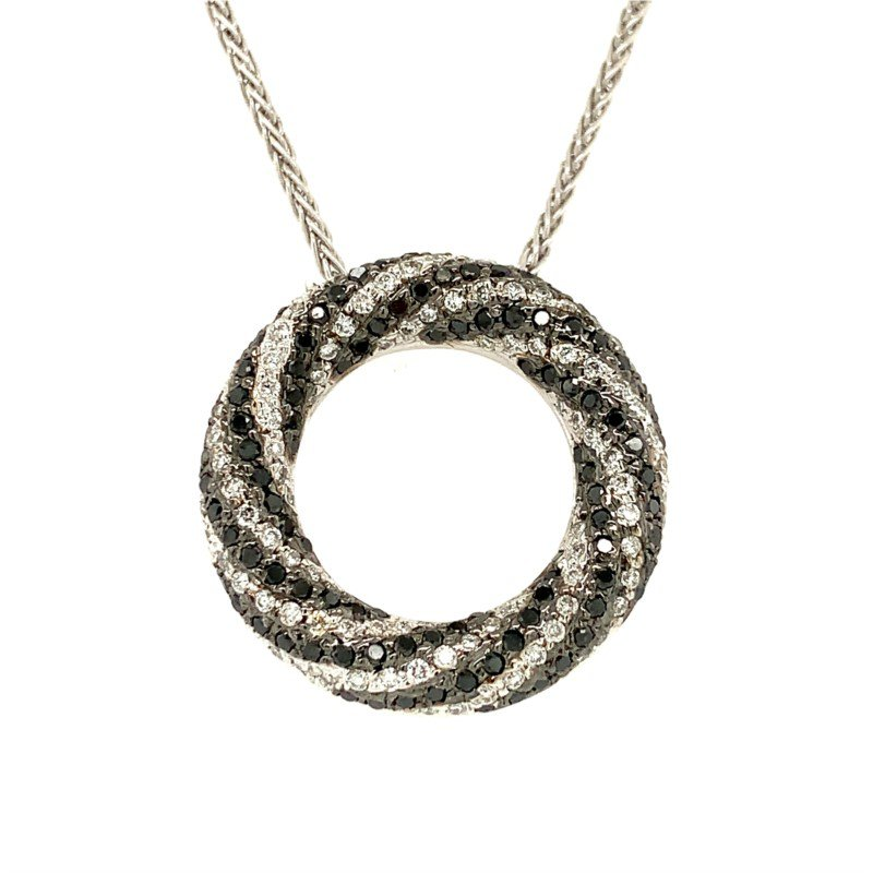 Moses Signature Black and White Diamond Necklace