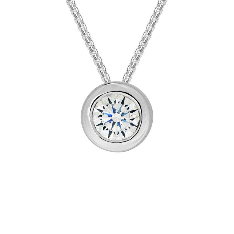 Wear-EVERY-Where Sterling Silver Sparkling Bezel-set Necklace