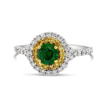 Demantoid Garnet & Yellow Diamond Ring