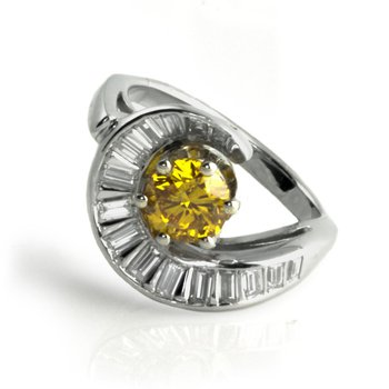 Yellow-Orange Diamond Ring