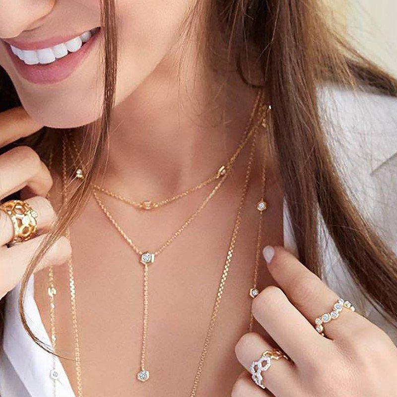 Gumuchian Mini B Lariat Diamond Necklace