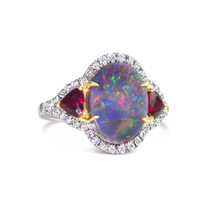 Moses Signature Black Opal Ring