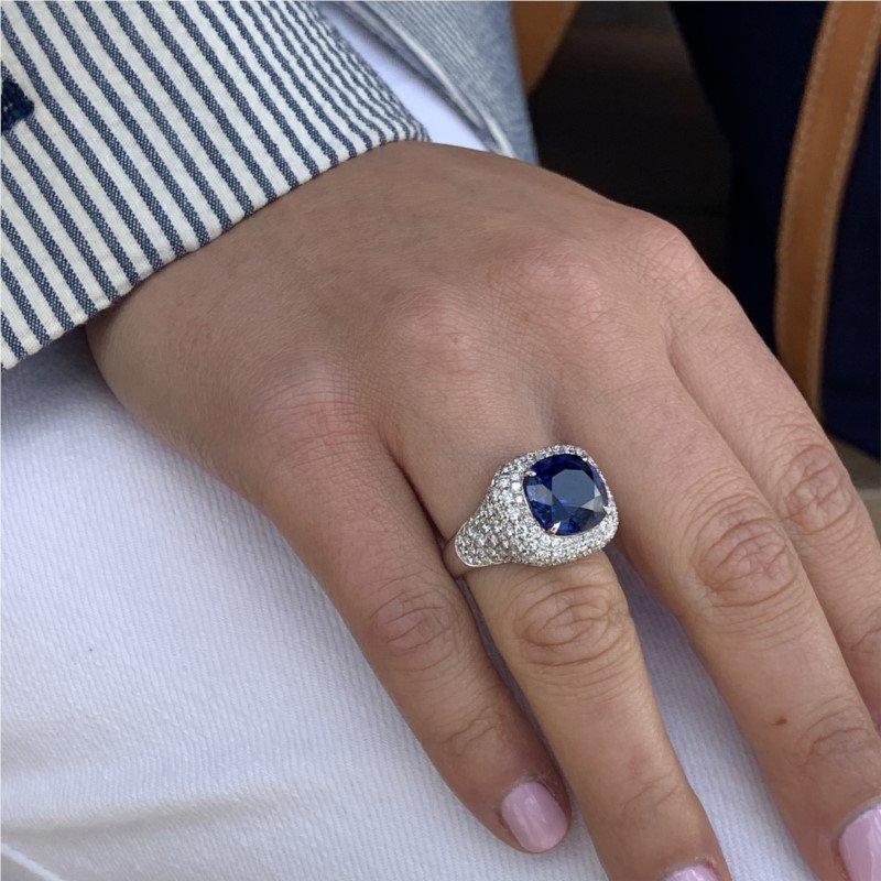 Moses Signature Unheated Blue Sapphire Ring