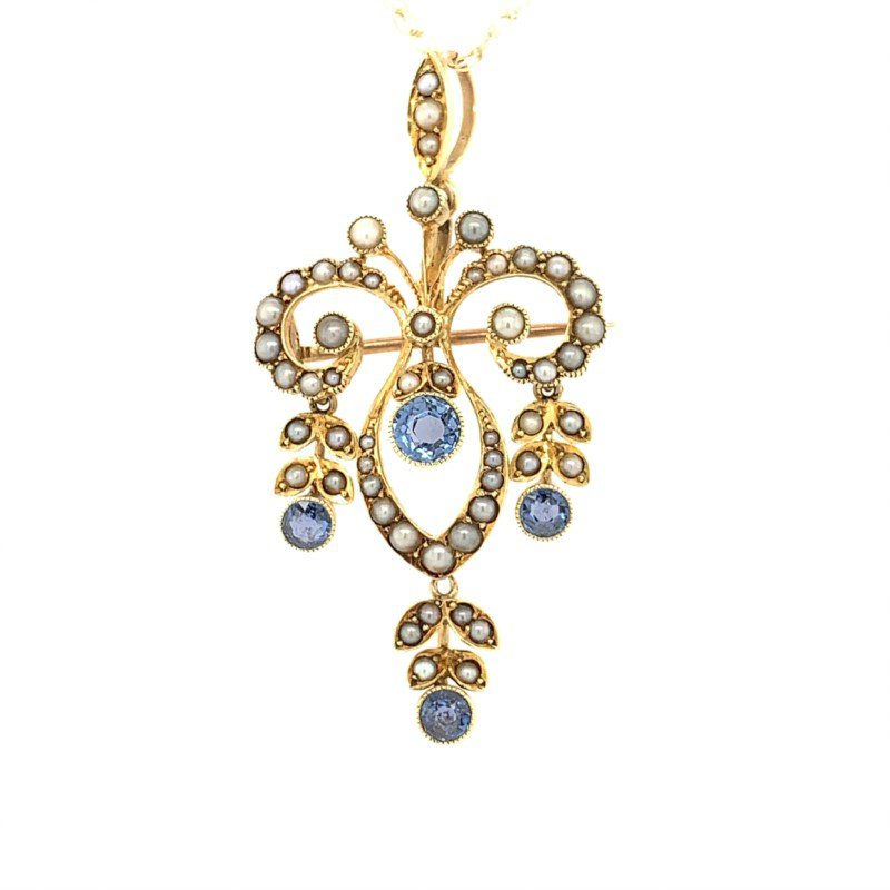 Signature Estate Victorian Seed Pearl & Sapphire Necklace