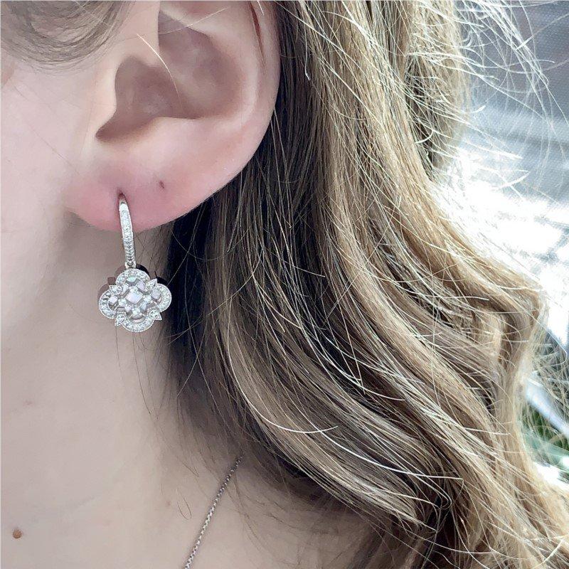Charles Garnier Paris Sterling Silver Mother-of-Pearl Sparkling Earrings