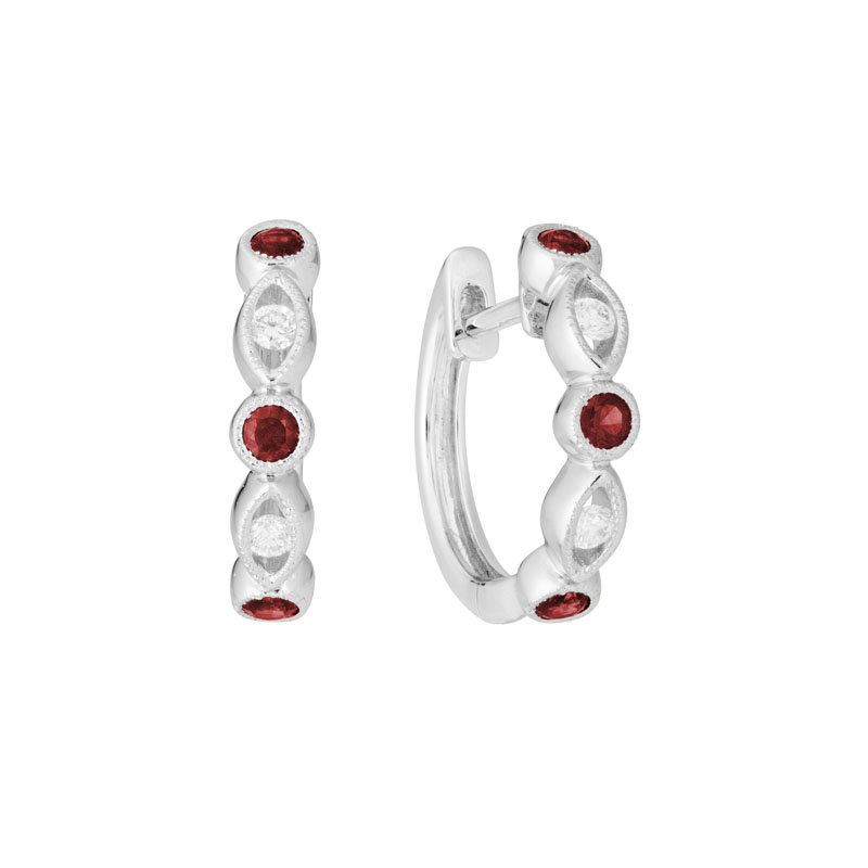Wear-EVERY-Where Ruby & Diamond Hoops