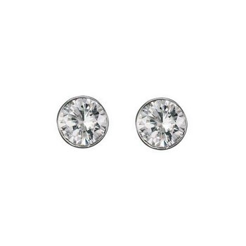 Sterling Silver Sparkling Bezel-set Earrings