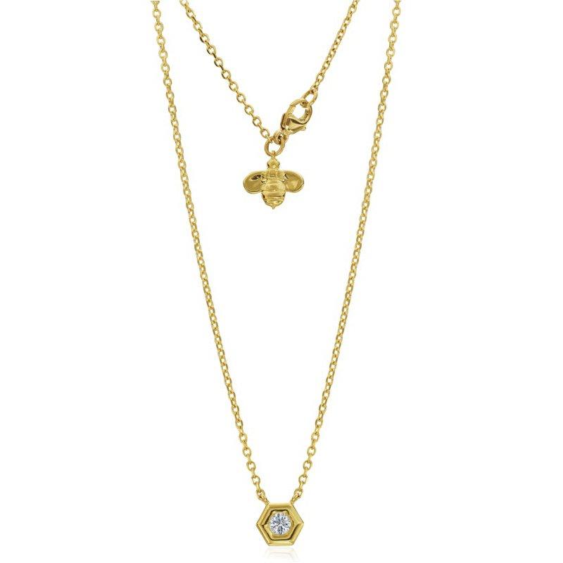 Gumuchian Mini B Solitaire Diamond Necklace