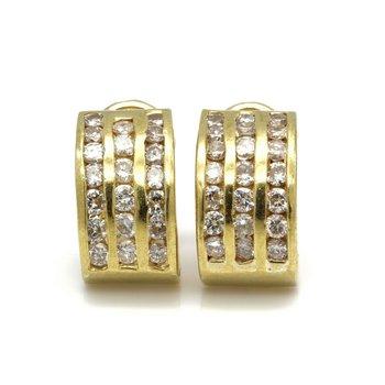 14K YELLOW GOLD HALF HOOP CHANNEL SET ROUND BRILLIANT DIAMOND EARRINGS #JB41-5
