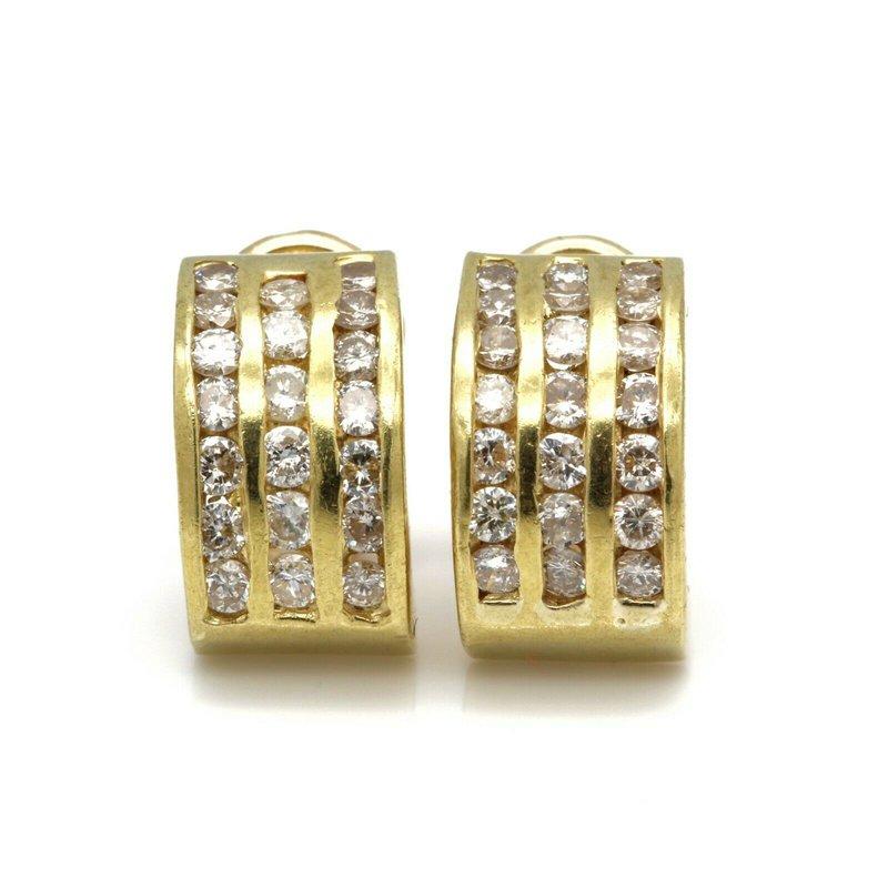 National Rarities 14K YELLOW GOLD HALF HOOP CHANNEL SET ROUND BRILLIANT DIAMOND EARRINGS #JB41-5