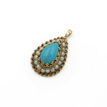 BEAUTIFUL 14K SOLID GOLD PEAR SHAPED TURQUOISE & PEARL PENDANT #985B-3