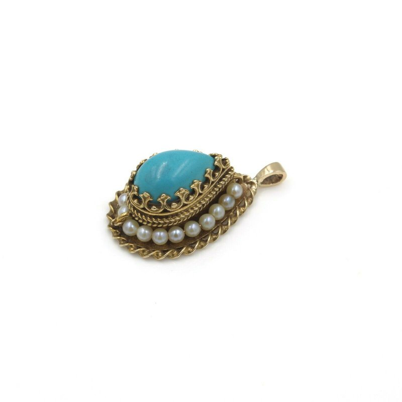 National Rarities BEAUTIFUL 14K SOLID GOLD PEAR SHAPED TURQUOISE & PEARL PENDANT #985B-3