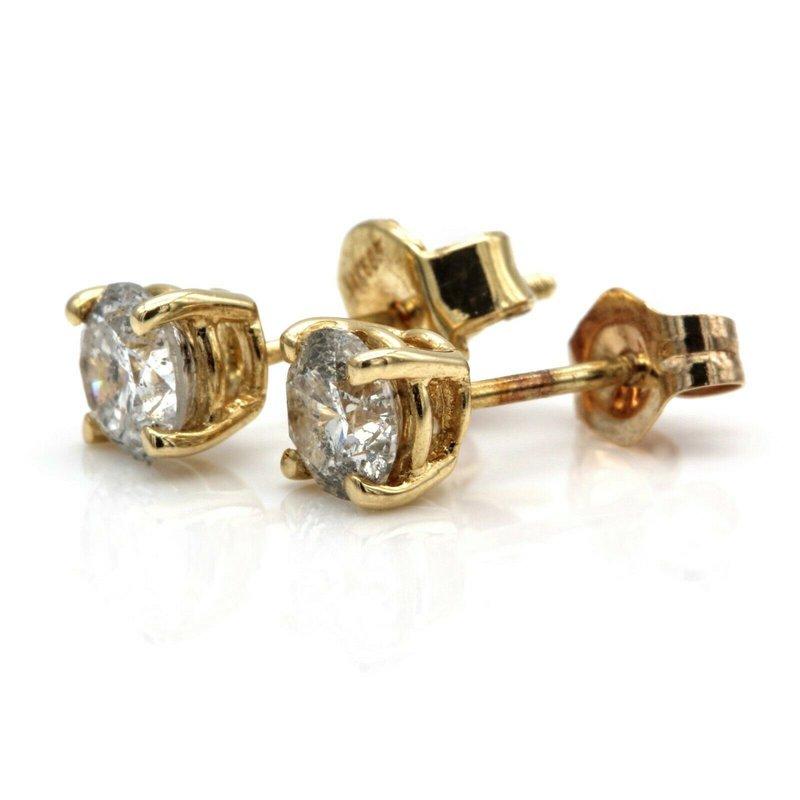 National Rarities 14K YELLOW GOLD ROUND BRILLIANT CUT DIAMOND STUD EARRINGS 0.75 CTW #JB23-10