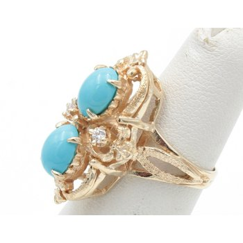 14K YELLOW GOLD OVAL CABOCHON TURQUOISE DIAMOND COCKTAIL RING SIZE 4.5 #JB30-2