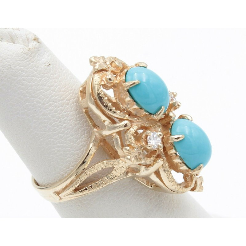 National Rarities 14K YELLOW GOLD OVAL CABOCHON TURQUOISE DIAMOND COCKTAIL RING SIZE 4.5 #JB30-2