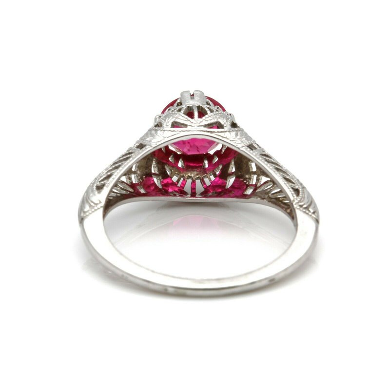 National Rarities VINTAGE 10k WHITE GOLD RING WITH SIMULATED RUBY MAINSTONE SIZE 6.25  J6-3