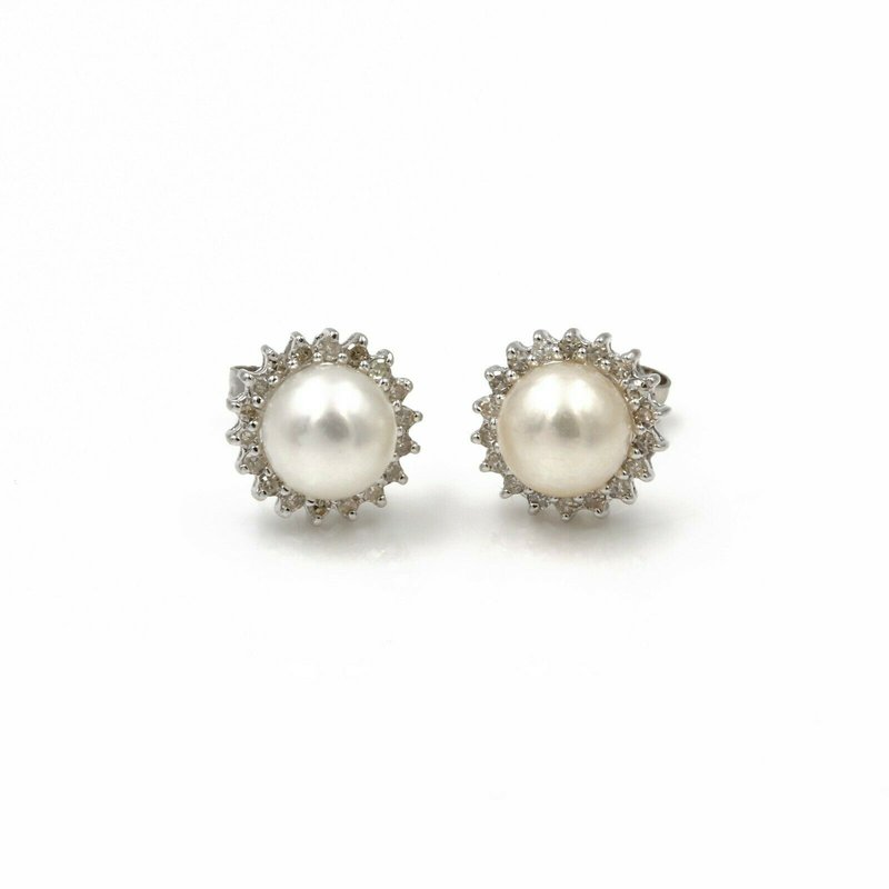 National Rarities 14K WHITE GOLD CULTURED FRESHWATER PEARL DIAMOND HALO EARRINGS 0.95 CTW 1086B-7