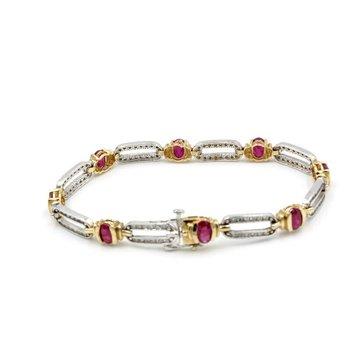 14K TWO TONE GOLD .96 CTW OVAL RUBY & ROUND DIAMOND LINK BRACELET NICE #983B-9