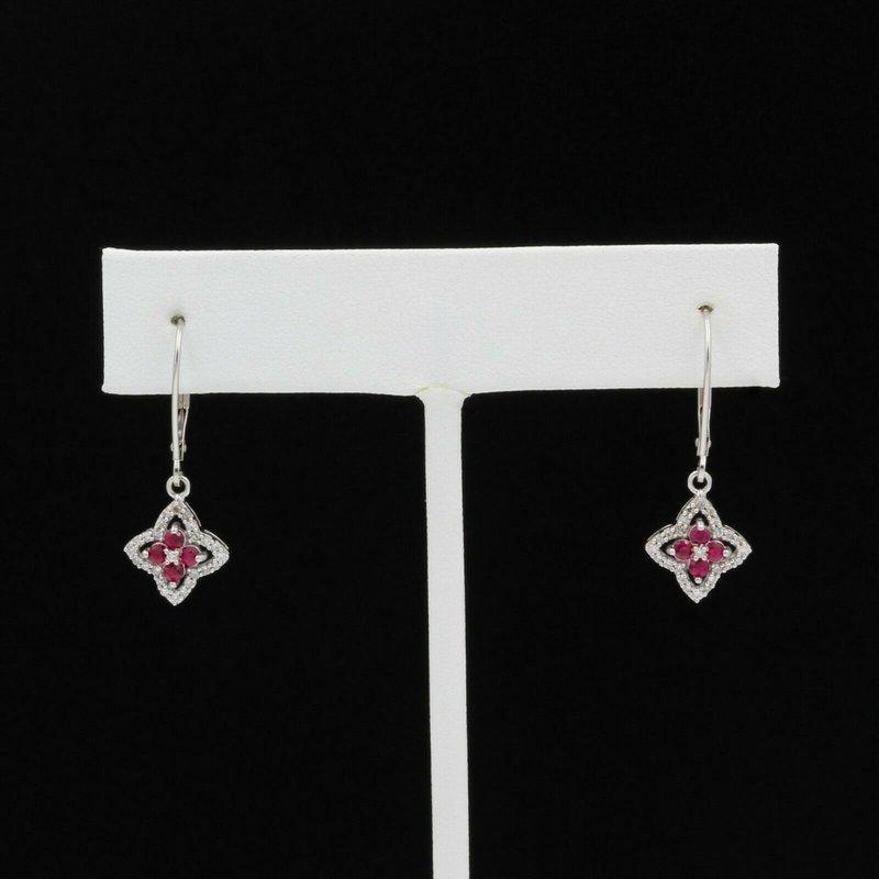 National Rarities 10K WHITE GOLD .41 CTW ROUND DIAMOND RUBY STAR CLOVER LEVERBACK EARRINGS #JB46-5