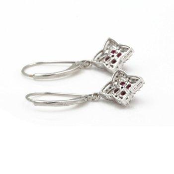 10K WHITE GOLD .41 CTW ROUND DIAMOND RUBY STAR CLOVER LEVERBACK EARRINGS #JB46-5