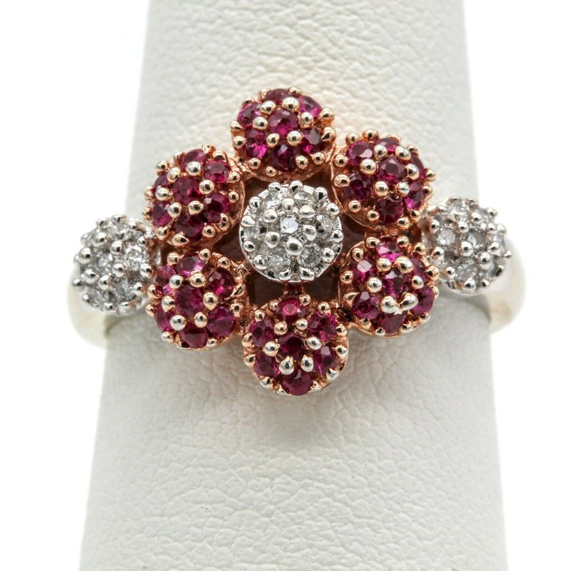 Ruby 14K ROSE & WHITE GOLD 1.34 CTW ROUND RUBY & DIAMOND FLOWER RING SIZE 6 #1016B-4