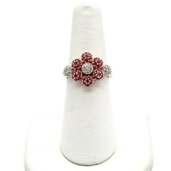 14K ROSE & WHITE GOLD 1.34 CTW ROUND RUBY & DIAMOND FLOWER RING SIZE 6 #1016B-4
