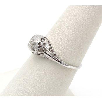 VINTAGE 18K WHITE GOLD OLD EUROPEAN ROUND 0.10CT DIAMOND RING SIZE 6.25 #JB30-7