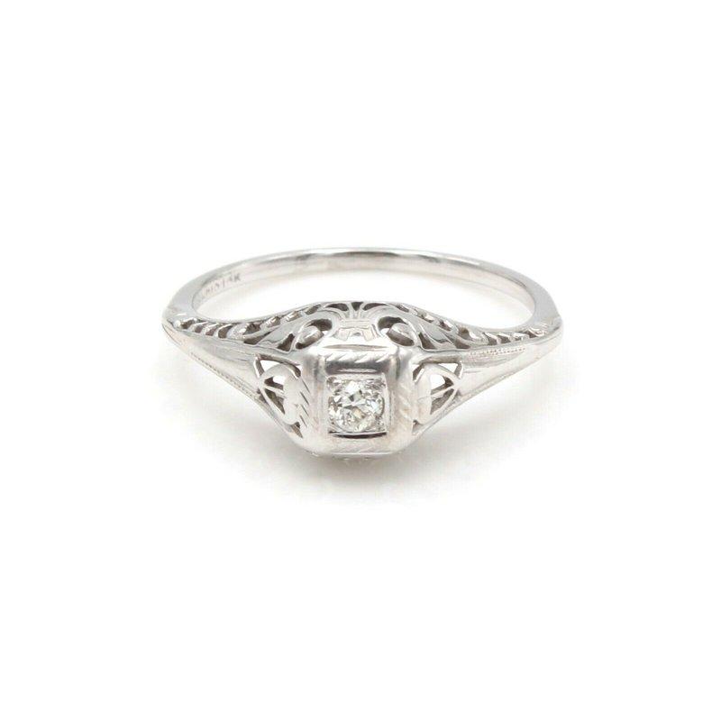 Unbranded VINTAGE 18K WHITE GOLD OLD EUROPEAN ROUND 0.10CT DIAMOND RING SIZE 6.25 #JB30-7