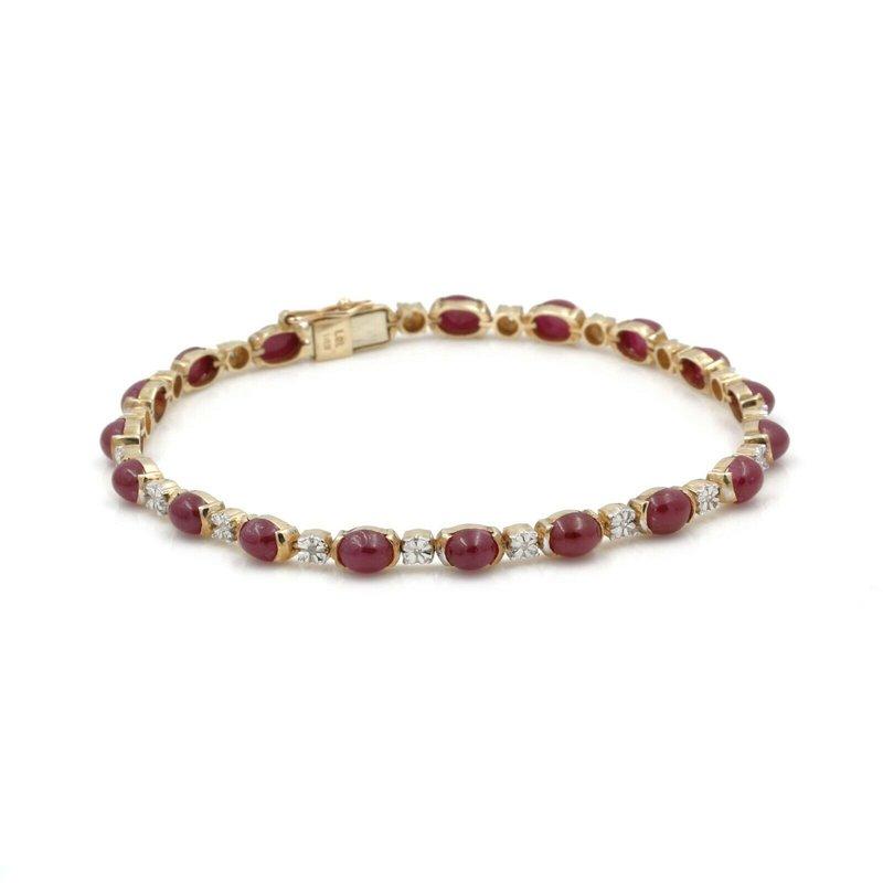 Unbranded 14K YELLOW GOLD OVAL CABOCHON RUBY AND SINGLE CUT DIAMOND BRACELET #J2621-2
