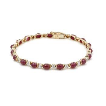 14K YELLOW GOLD OVAL CABOCHON RUBY AND SINGLE CUT DIAMOND BRACELET #J2621-2