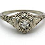National Rarities ART DECO  18K WHITE GOLD DIAMOND RING ROUND OLD EURO CUT .16 TCW SIZE 5 FILIGREE