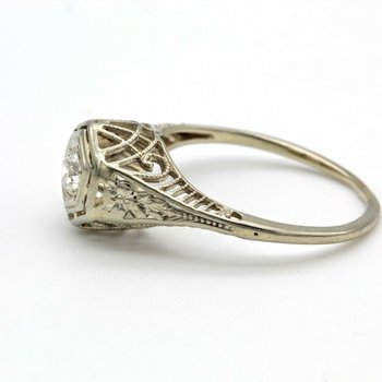 ART DECO  18K WHITE GOLD DIAMOND RING ROUND OLD EURO CUT .16 TCW SIZE 5 FILIGREE