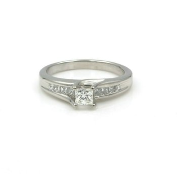 CLASSIC 14K WHITE GOLD .85 CTW PRINCESS DIAMOND ENGAGEMENT RING SIZE 7.5 #742B-9