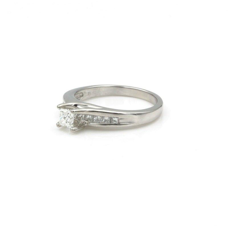 National Rarities CLASSIC 14K WHITE GOLD .85 CTW PRINCESS DIAMOND ENGAGEMENT RING SIZE 7.5 #742B-9