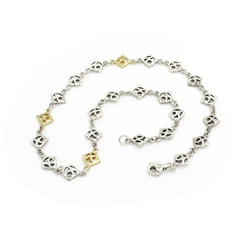 Silver DAVID YURMAN 18K YELLOW GOLD AND .925 SILVER ALL AROUND DY LOGO NECKLACE#D3183-3