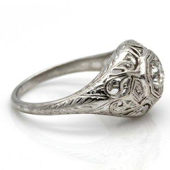 VINTAGE PLATINUM RING WITH .28 CT OLD EUROPEAN CUT DIAMOND H-VS1 SIZE 5.75 J6-4