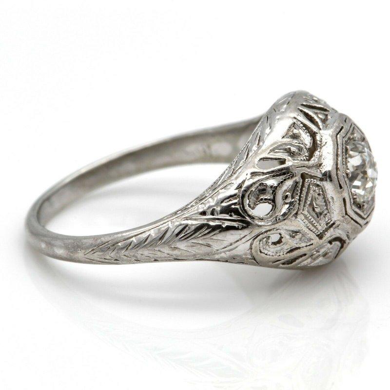 National Rarities VINTAGE PLATINUM RING WITH .28 CT OLD EUROPEAN CUT DIAMOND H-VS1 SIZE 5.75 J6-4