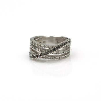 EFFY BITA 14K WHITE GOLD 0.72 CTW DIAMOND CROSSOVER RING SIZE 5.5 #990B-3
