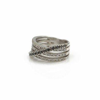 EFFY BITA 14K WHITE GOLD 0.72 CTW DIAMOND CROSSOVER RING SIZE 5.5 #990B-3