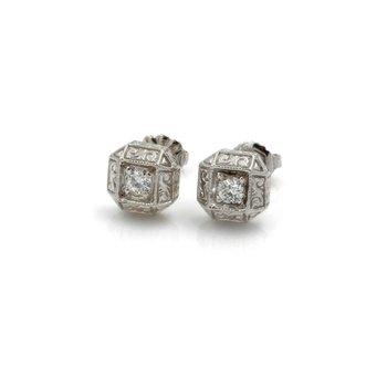 ANTIQUE 14K WHITE GOLD OLD EUROPEAN ROUND DIAMOND STUD EARRINGS 0.30CTW #J5-9