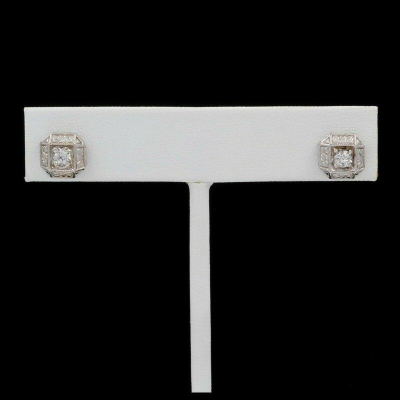 Antique ANTIQUE 14K WHITE GOLD OLD EUROPEAN ROUND DIAMOND STUD EARRINGS 0.30CTW #J5-9