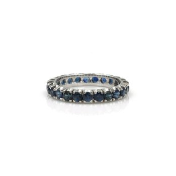18K WHITE GOLD 1.68 CTW ROUND 2.50 MM SAPPHIRE ETERNITY BAND SIZE 5.75 #1001B-3